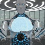 Huanoid_robot_with_a_brain_hologram._3d_illustration.